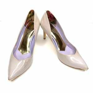 Ted Baker Patent Pumps in Taupe Size 7.5